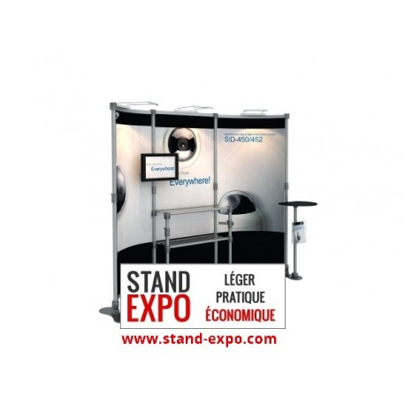 Advertising stand with table and shelves