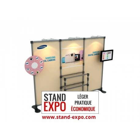 Advertising stand with shelves and LCD holder